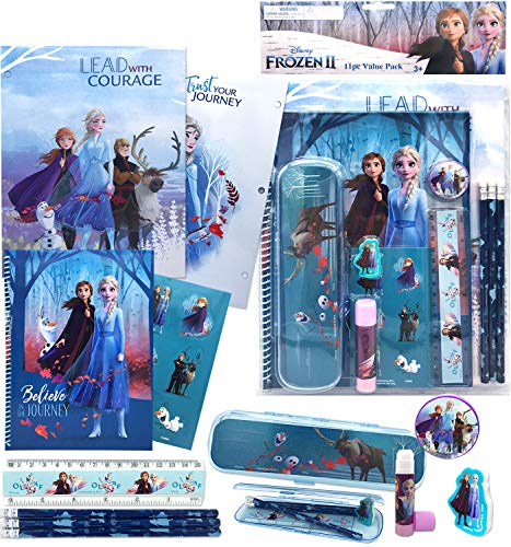 Disney Frozen All You Need for School Stationery Gifts Set - Pencils Eraser Notebook Case Ruler Folders for Back to The Pre School Kindergarten Education Goodies Supplies for Kids Girls