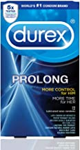 Durex Prolong with Silver Lunamax Pocket Case, Climax Control Lubricated Latex Condoms-12 Count