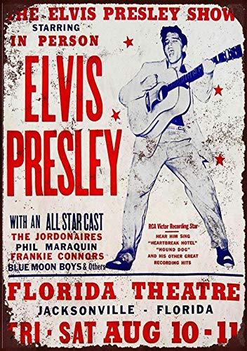 Elvis Presley Concert Florida Theatre Metall Blechschild Retro Metall gemalt Kunst Poster Dekoration Plaque Warnung Bar Cafe Garage Party Game Room Hauptdekoration