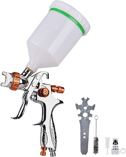 HVLP Gravity Feed Spray Paint Gun with 1.3mm Nozzle, 4.0-6.0 CFM Air Spray Gun with 600cc Nylon Cup (Chrome)