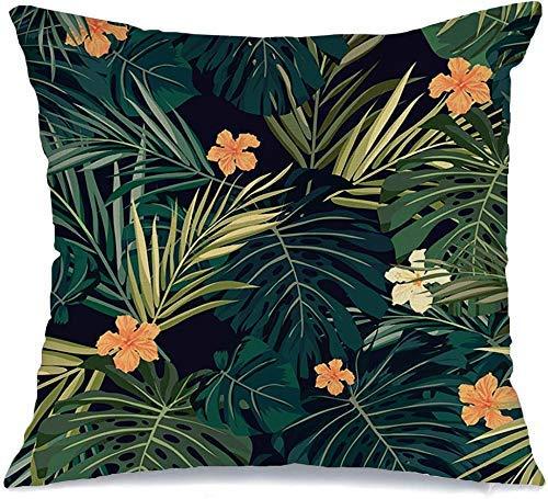 Decoración Throw Pillow Cover Funda de cojín Diseño de plantas verdes Árbol de verano Colorido Hawaiano Tropical Naturaleza Rojo Patrón Hoja Floral Palmera oscura Funda de Cojine 45 X 45CM