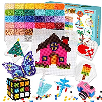 Meland Fuse Beads Kit - 11,000 pcs 36 Colors Fuse Beads Craft Set for Kids Including 5 Pegboards Ironing Paper & Chain Accessories Iron Beads Christmas Birthday Gift