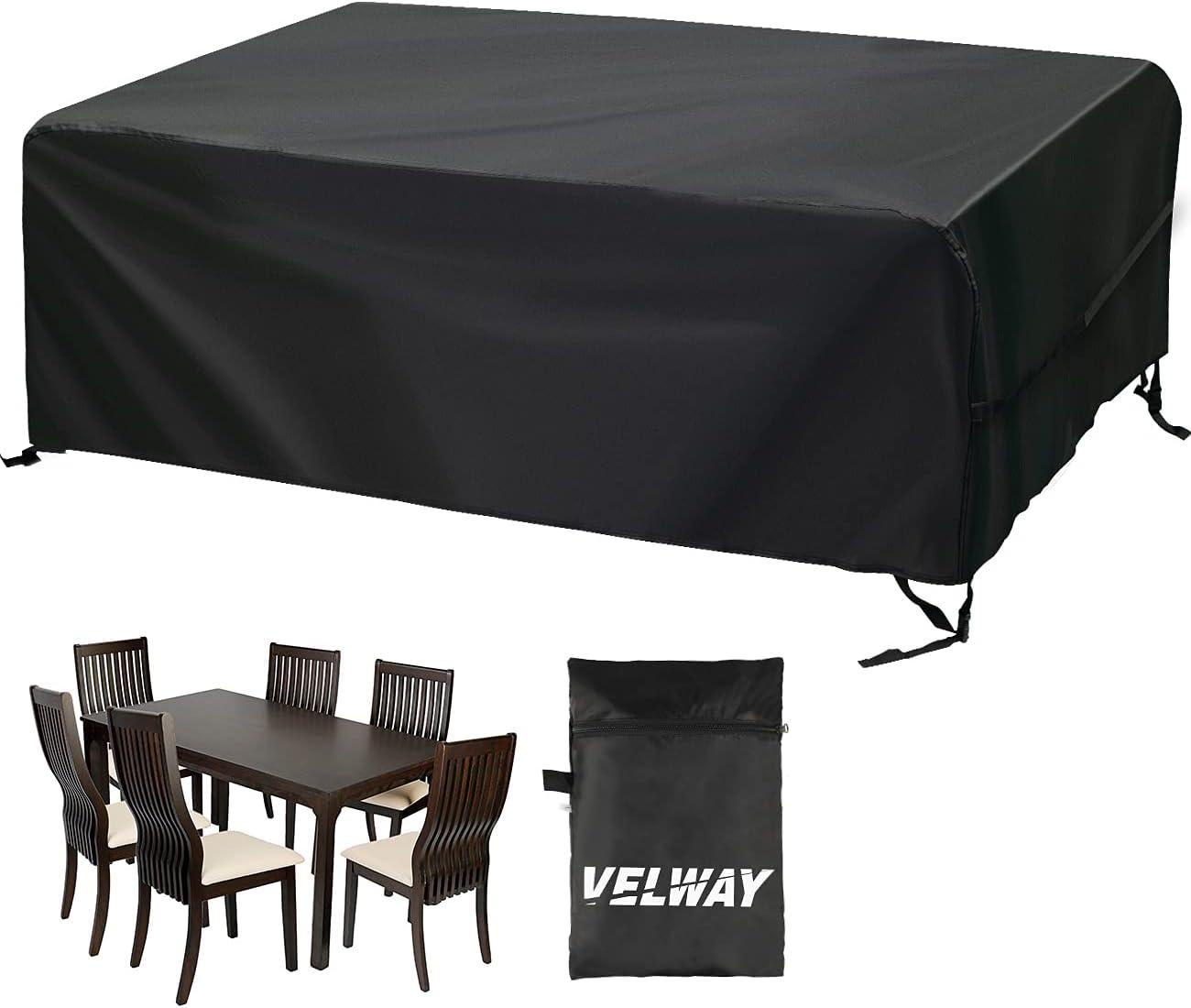Velway Funda para Muebles de Jardín Exterior, Protectora para Mesas Rectangular de Patio, Cubierta de Sofá Silla de Paño Oxford Impermeable a Prueba de Polvo Lluvia Sol Viento, 200x160x70cm Negro