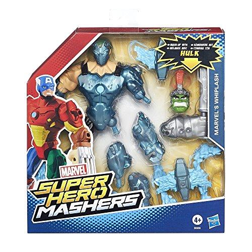 Hasbro B0696360 - Action Figure Marvel Super Hero Masher, Deluxe Whiplash, Altezza: ca. 15 cm