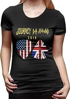 Tour 2018 Journey Def Leppard Women's Cool Hiking Round Neck Short Sleeve Tee Shirt Tops