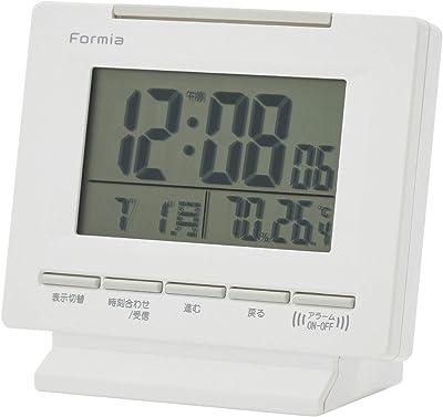 フォルミア(Formia) 目覚まし時計 ホワイト 電波 デジタル 表示切替機能 温度 湿度 カレンダー 表示 バックライト付き 高さ11.5×幅10.4×奥行き5.6cm AZ-HT-018RC
