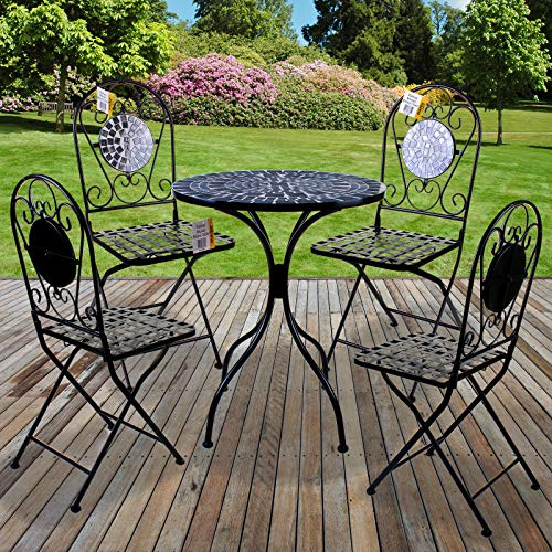 Marko Outdoor 5PC Mosaic Bistro Sets Round Table Folding Chairs Outdoor Garden Patio Cafe Furniture Al Fresco Dining (Palmas)