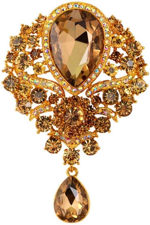 Reizteko Wedding Bridal Big Crystal Rhinestone Bouquet Brooch Pin for Women (Champagne)