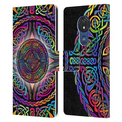 Head Case Designs Officially Licensed Beth Wilson Shield Rainbow Celtic Knots Leather Book Wallet Case Cover Compatible with Motorola Moto G7 Power