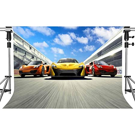 8x12 FT Vinyl Photography Backdrop,Red Super Sports Car Lifestyle Automobile Transport Modern Urban City Life Theme Background for Graduation Prom Dance Decor Photo Booth Studio Prop Banner