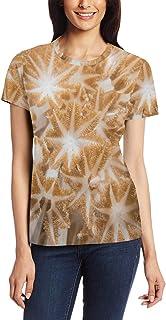 XiangHeFu T-shirt voor vrouwen meisjes koraal patroon aangepaste korte mouw
