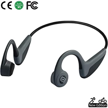 Genso Bone Conduction Headphones Bluetooth 5.0 Open-Ear Wireless Sports Headsets w/Mic for Jogging Running Driving Cycling, Lightweight-1.2 oz