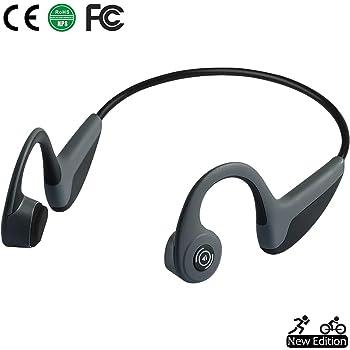 Bone Conduction Headphones Bluetooth 5.0 Open-Ear Wireless Sports Headsets w/Mic for Jogging Running Driving Cycling, Lightweight-1.2 oz