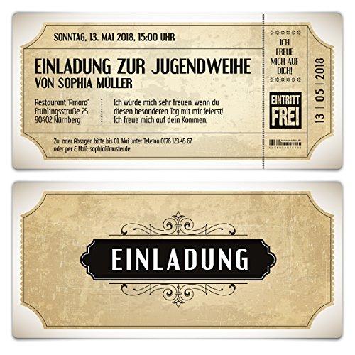 20 x Jugendweihe Einladungskarten Einladungen Jugendfeier - Vintage Eintrittskarten in Weiß