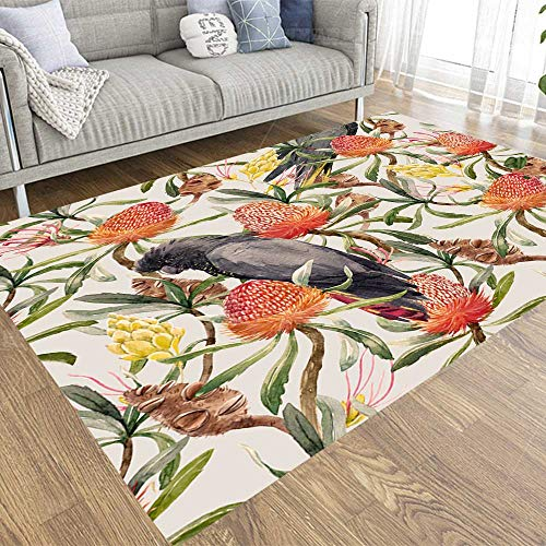 Capsceoll Tropical Watercolor Pattern Australian Flower Seed Leaves Yellow Exotic Flowers Parrot Black Cockatoo 5X7 Area Rugs,Soft and Comfy Carpet Friendly to Kids Pets for Living Room Bedroom