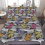 Odeletqweenry Juego de funda de edredón, tamaño pequeño doble, colonia de mariposas monarcas coloridas en líneas horizontales, multicolor, juego de cama decorativo de 3 piezas con 2 fundas de almohada