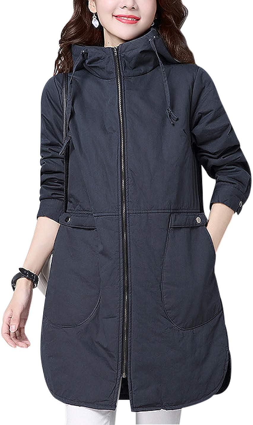 Jenkoon Women's Diamond Quilted Jacket Parka Overcoat with Fur Hood