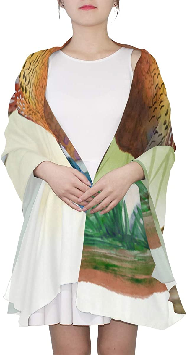 Pheasants With Colorful Feathers Unique Fashion Scarf For Women Lightweight Fashion Fall Winter Print Scarves Shawl Wraps Gifts For Early Spring