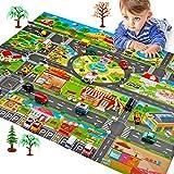 FASSTUREF Juego de esteras para niños Tráfico Mapas de tránsito con señales de tráfico Juguetes educativos interactivos Entre Padres e Hijos para los dormitorios/Sala de Juegos/Exteriores