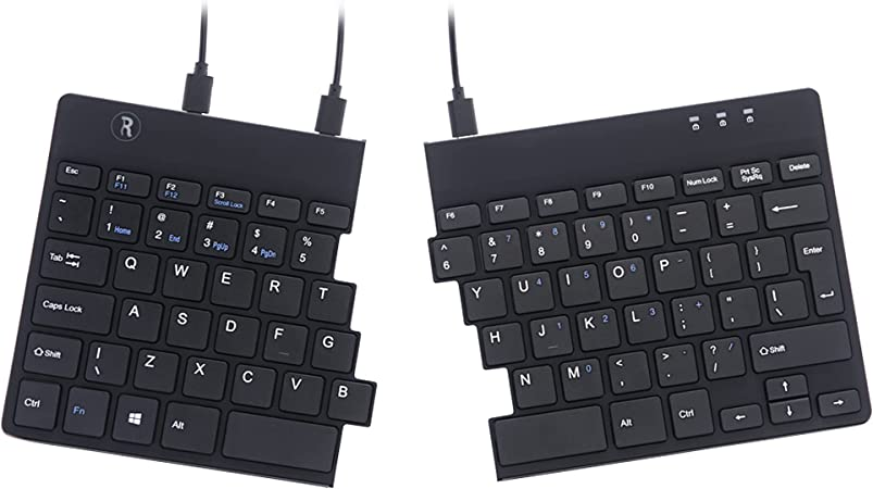 De R Go Tools Split Teclado ergonómico, QWERTY (US), Negro, comunicarse – Teclados (QWERTY (US), Negro, comunicarse, USB, Oficina, Mecánico Switch, ...