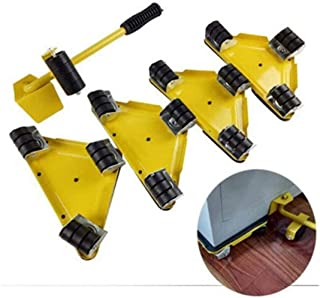 5PCS/Set Furniture Lifter Mover Tool Set with 1 Lifting Rod and 4 Slides, 360 Degree Rotatable, Move Up to 250KG