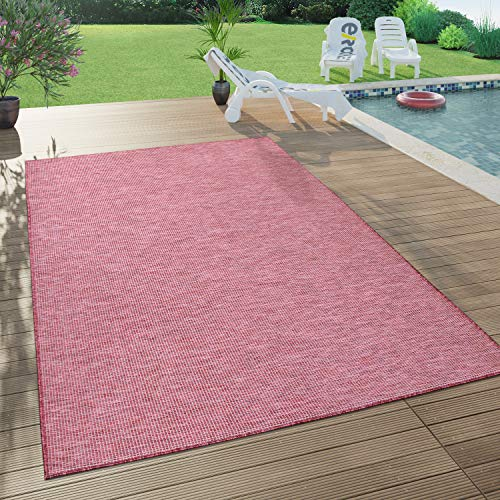 Paco Home In- & Outdoor-Teppich Für Wohnzimmer, Balkon, Terrasse, Flachgewebe Lila Fuchsia, Grösse:140x200 cm