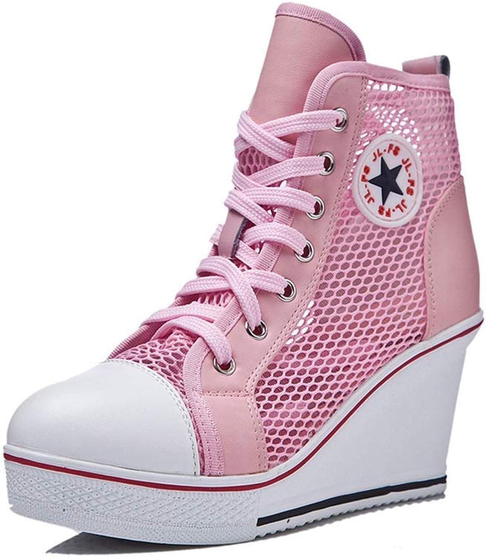 U-MAC Womens Wedge High Top Sneakers Mesh Brreathable Lace Up Height Increased Platform Girls Walking shoes