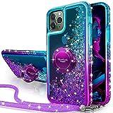 Miss Arts Funda iPhone 11 Pro,[Silverback] Carcasa Brillante Purpurina con Soporte giratorios, Transparente Cristal Telefono Fundas Case Cover para Apple iPhone 11 Pro 5.8-PÚRPURA