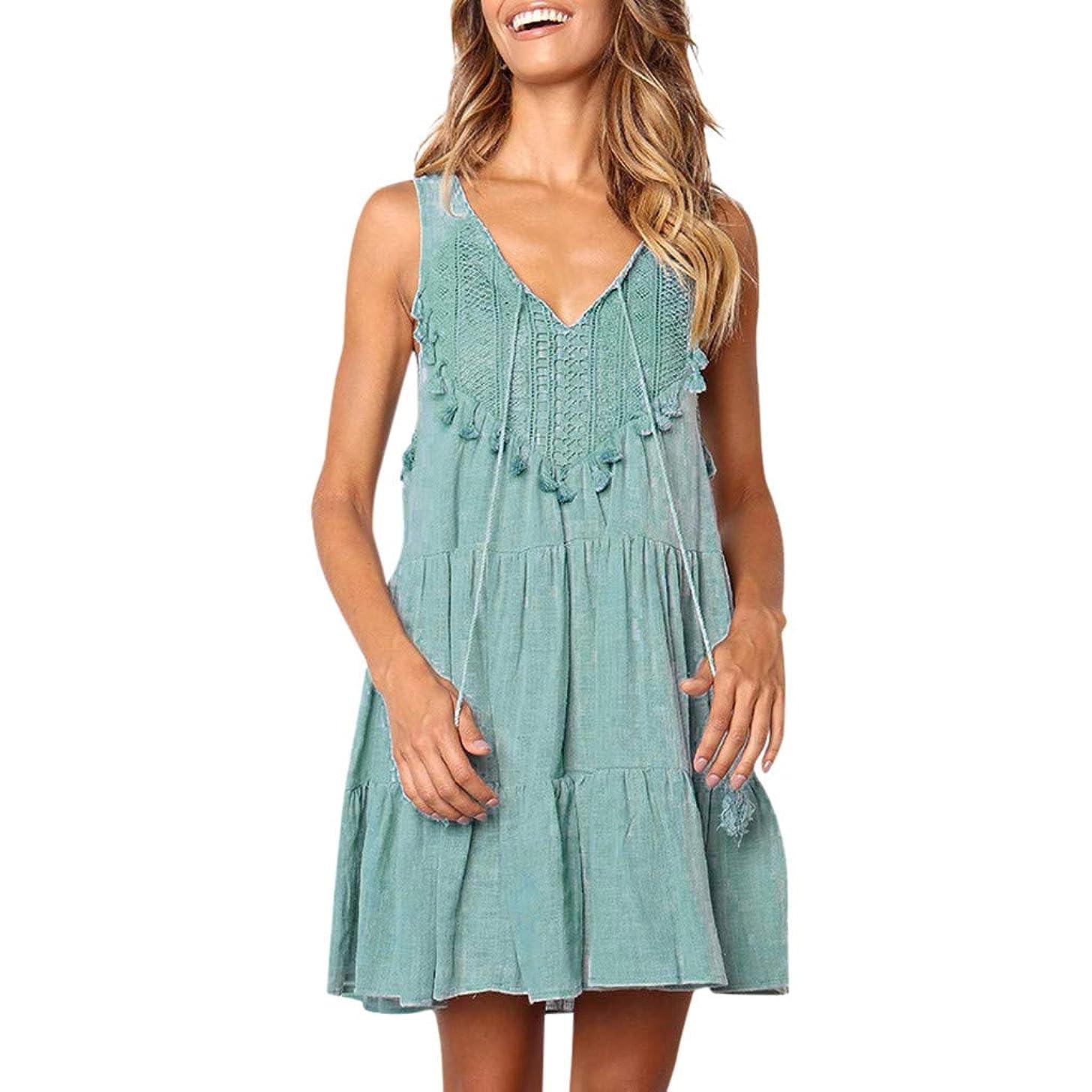 Women Lace Ruffle Mini Dress V Neck Sleeveless Strap Tassel Loose Casual Swing Flowy Pleated Solid Short Beach Sundress