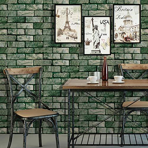 Papel Pintado Autoadhesivo patrón de papel tapiz retro nostálgico de musgo verde antiguo de ladrillo impermeable del papel pintado Adecuado for Habitación Sala Cocina del restaurante Fine Decor Wallco