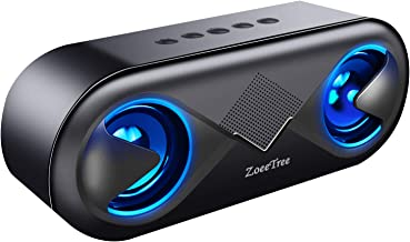 ZoeeTree S8 Bluetooth Speakers V5.0, Speakers Bluetooth Wireless with 10W HD Sound and Rich Bass, LED Flashing Light, 12H Playtime, Built-in Mic, Portable Speaker Works with Alexa