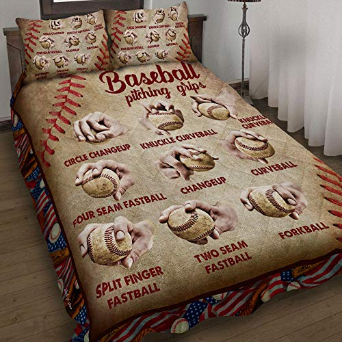 GEEMBI Quilt Bedding Set-Baseball Pitching Grips Quilt Bed Set QNN346QS, King Size Coverlet for All Season-Soft Microfiber Bedspread+Pillows-Quilts Gifts (King,Queen,Twin)
