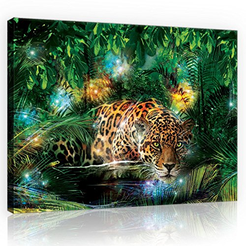 FORWALL Bilder Canvas Jaguar im Dschungel O1 (100cm. x 75cm.) Leinwandbilder Wandbild AMFPP10212O1