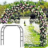 Metal Garden Arbor Wedding Arch 76.8 Inch H x 90.5 Inch W \94.5 Inch H x 55 Inch W Assemble Freely 2 Sizes for Various Climbing Plant Roses Vines Bridal Party Decoration Pergola Arbor (Black)