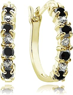 Sterling Silver Choice of Gemstone Colors Small Hoop Earrings