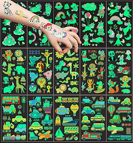 UniBaby7 Tattoo Kinder, 15 Blätter Tier Transport Einhorn Temporäre Tattoos Set, im Dunkeln leuchten Tattoos Kinder, Kinder Tattoos Aufkleber für Kinder Spielen Kindergeburtstag Mitgebsel