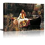 wall26 The Lady of Shalott by John William Waterhouse Famous Fine Art Reproduction World Famous Painting Replica on ped Print Wood Framed - Canvas Art Wall Art - 24' x 36'