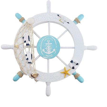 Nautical Wooden Ship Sailboat Boat Steering Wheel Fishing Net Home Decor
