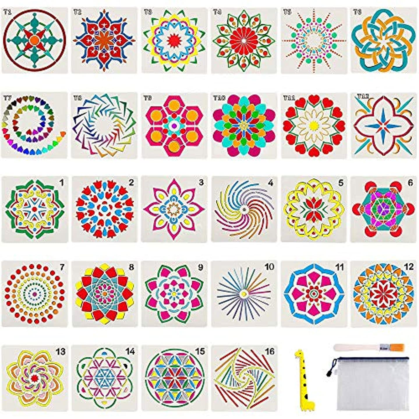28 Pack Mandala Stencils - Mandala Template for Painting, Reusable Stencils Art for Painting Mandala Flower on Wood, Airbrush and Walls + Storage Bag/Art Brush/Ruler