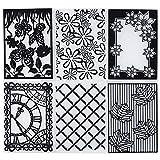 6pcs Carpetas de Relieve Estampado Estampación Plantilla Repujado Flor Plástico Molde Decoración Tartas Pasteles Diy Papel Maualidades (10.5×29.5cm)