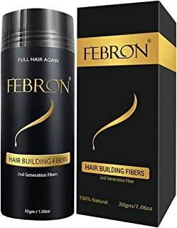 FEBRON Hair Building Fibers - Hair Loss Concealer For Thinning Hair - Giant 30gm Hair Powder Volumizing Based (Black)