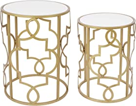 Gold&White Round Nesting Side End Tables Set of 2 in Wooden Top, Assembled Small Coffee Tables for Living Room