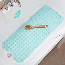Tree Bud Bathtub Mats for Shower Tub Non-Slip Anti Bacterial Bath Mat 39 x 16 Inch Extra Long Shower Mat, Bath Tub Mat for Bathroom with Machine Washable, BPA Free for Kids (Clear Aqua)