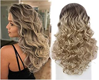 STfantasy Ombre Blonde Women Half Wigs Long Weaving 3/4 Wig for women Ladies Added More Hair Wedding Style Daily Used