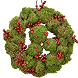 """RED DECO Christmas Wreath for Indoor Outside - 14"""" Berry Front Door Wreaths + 3 Balls for Holiday Home Farmhouse Wedding Party Wall Window Decor"""