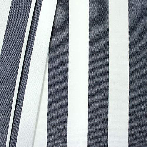 STOFFKONTOR Markisenstoff Outdoorstoff Streifen Breite 160cm Meterware Dunkel-Blau Weiss