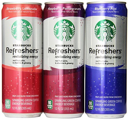 Starbucks Refreshers, 3 Flavor Variety Pack, 12 Ounce Slim Cans, 12 Pack