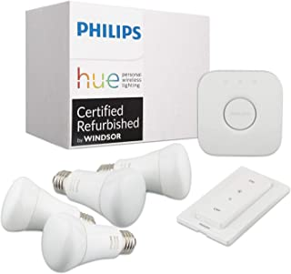 Philips Hue White Ambiance A19 4-Bulbs with Dimmer + Hue 3rd Gen Smart Bridge (Certified Refurbished)