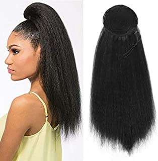 CINHOO Heat Resistant Synthetic Kinky Straight Ponytail Long Afro Kinky Curly Hair Bun Extension With Two Plastic Combs Hairpiece (1B)