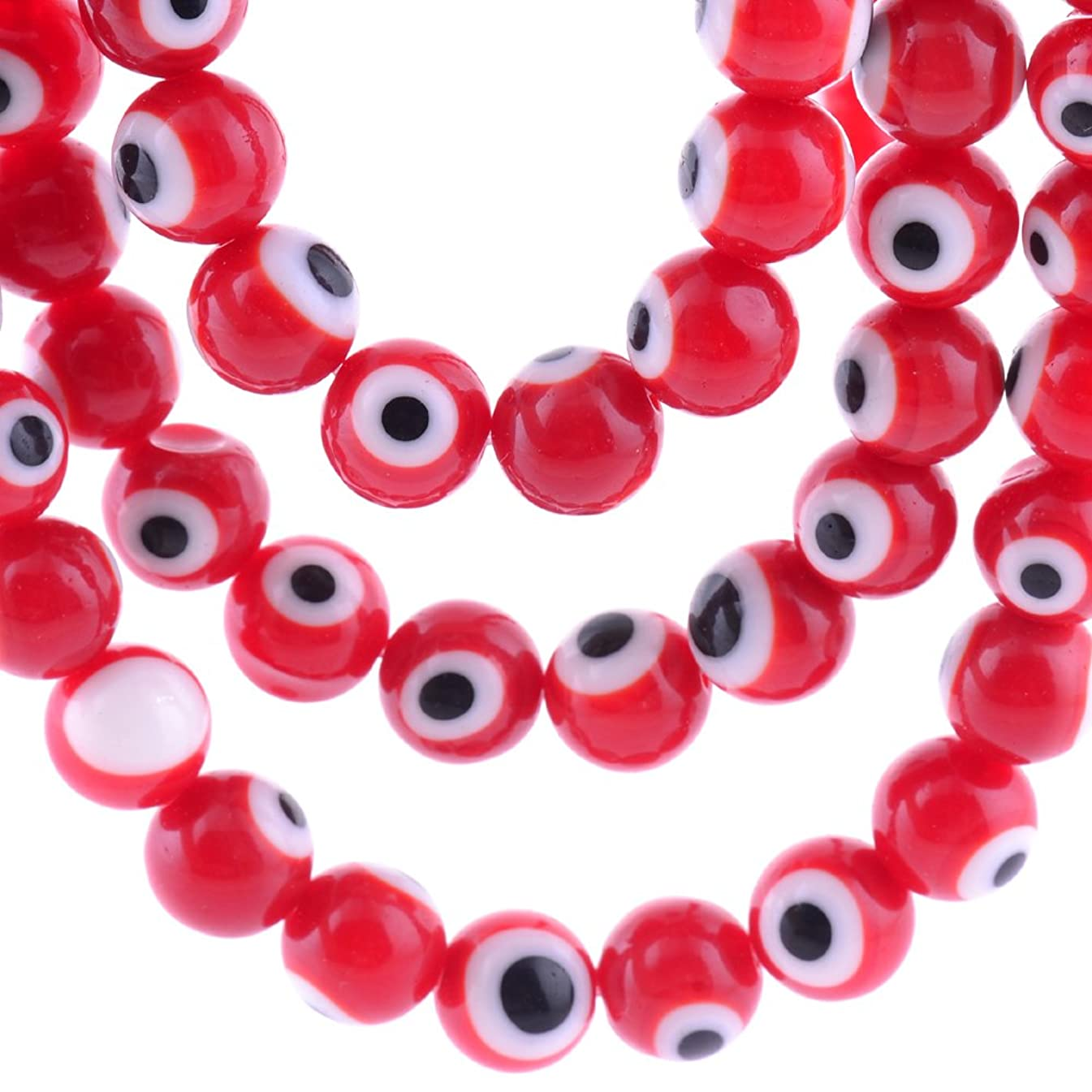 6mm 200 Pcs Evil Eye Glass Beads Red Colors of Jewelry Findings for Bracelet,Necklace or Others